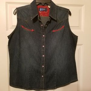Wrangler Blues Western sleeveless top size large